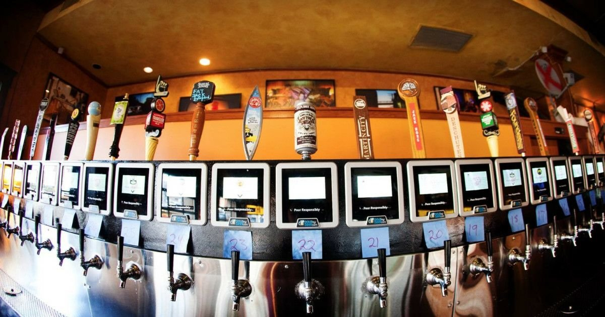 The self-serve taps at Ruins Pub in Kansas City, Missouri. (Photo used with permission of Ruins Pub)