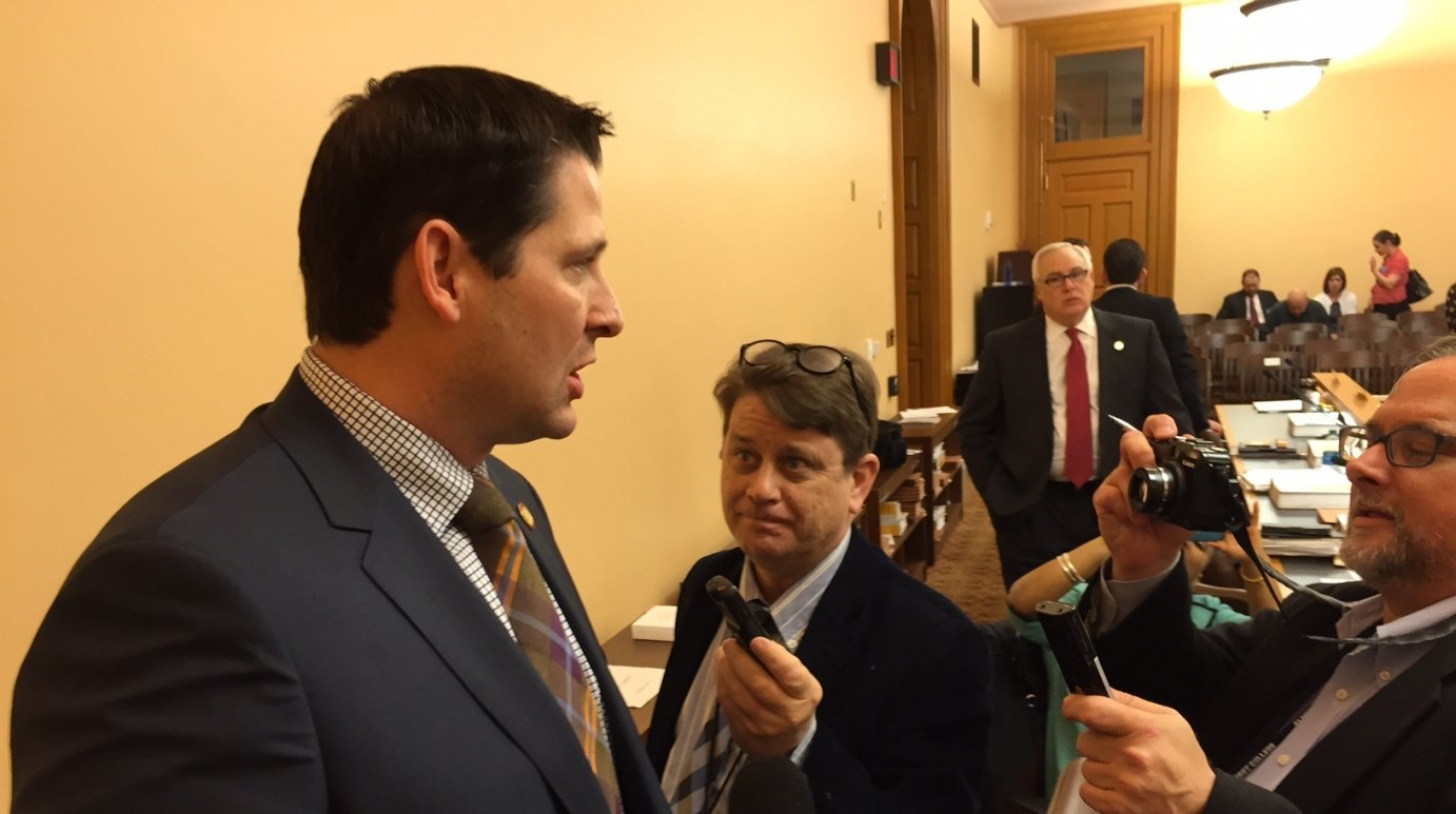 Rep. Ron Ryckman, House Appropriations Committee chairman, speaking to reporters last month. (Photo by Stephen Koranda)