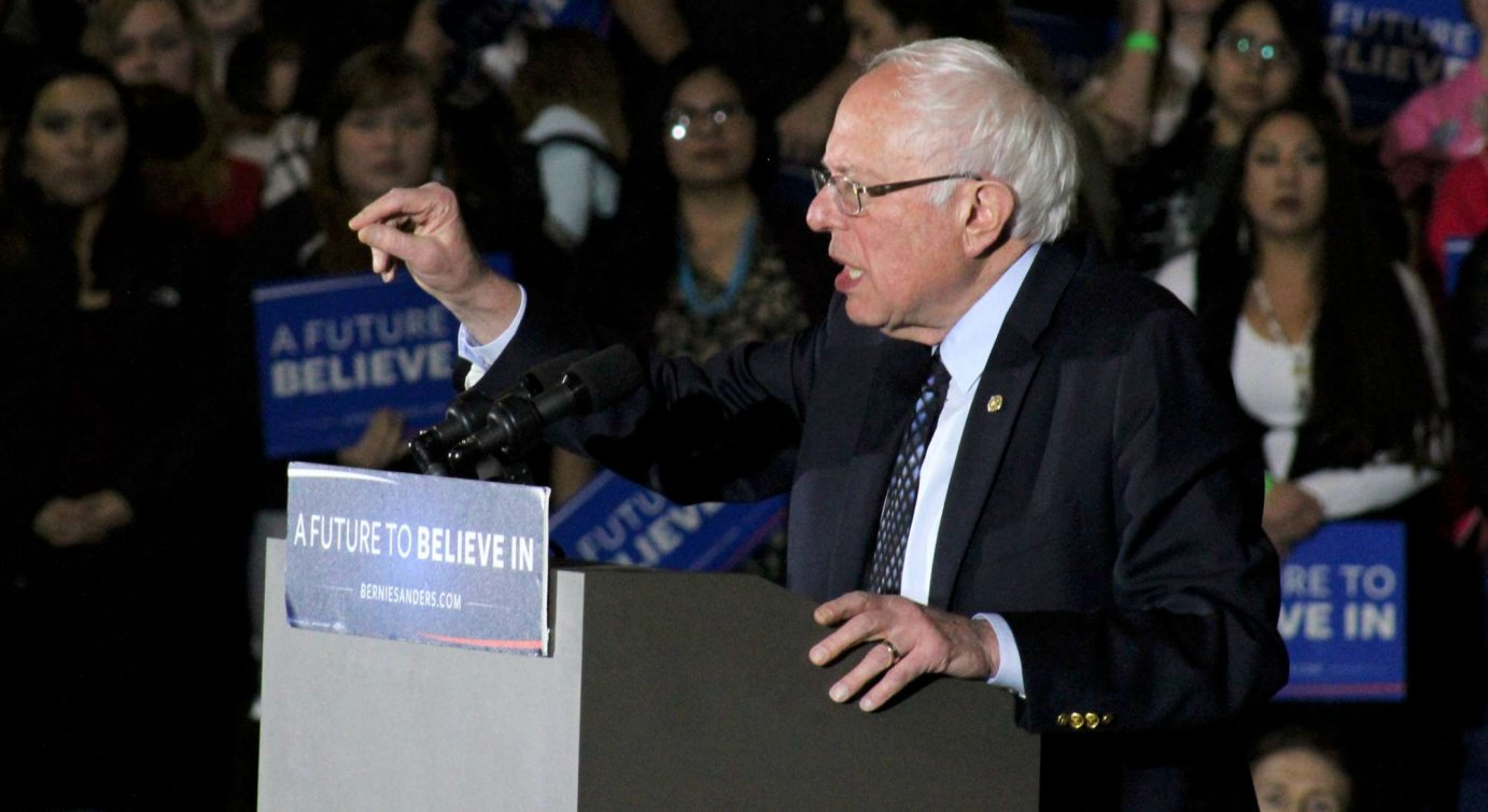 Bernie Sanders spoke to supporters Thursday night in Lawrence. (Photo by Mary Costello / Nicci Banman)