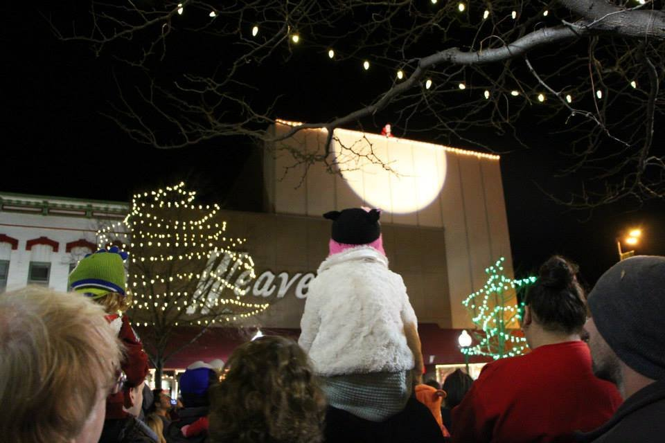 Santa Claus awaits rescue by the Lawrence Fire Department in this file photo (Photo credit: Downtown Lawrence, Inc.)