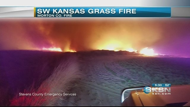 Screen shot of wildfire in Stanton County, Kansas from KSN TV in Wichita.