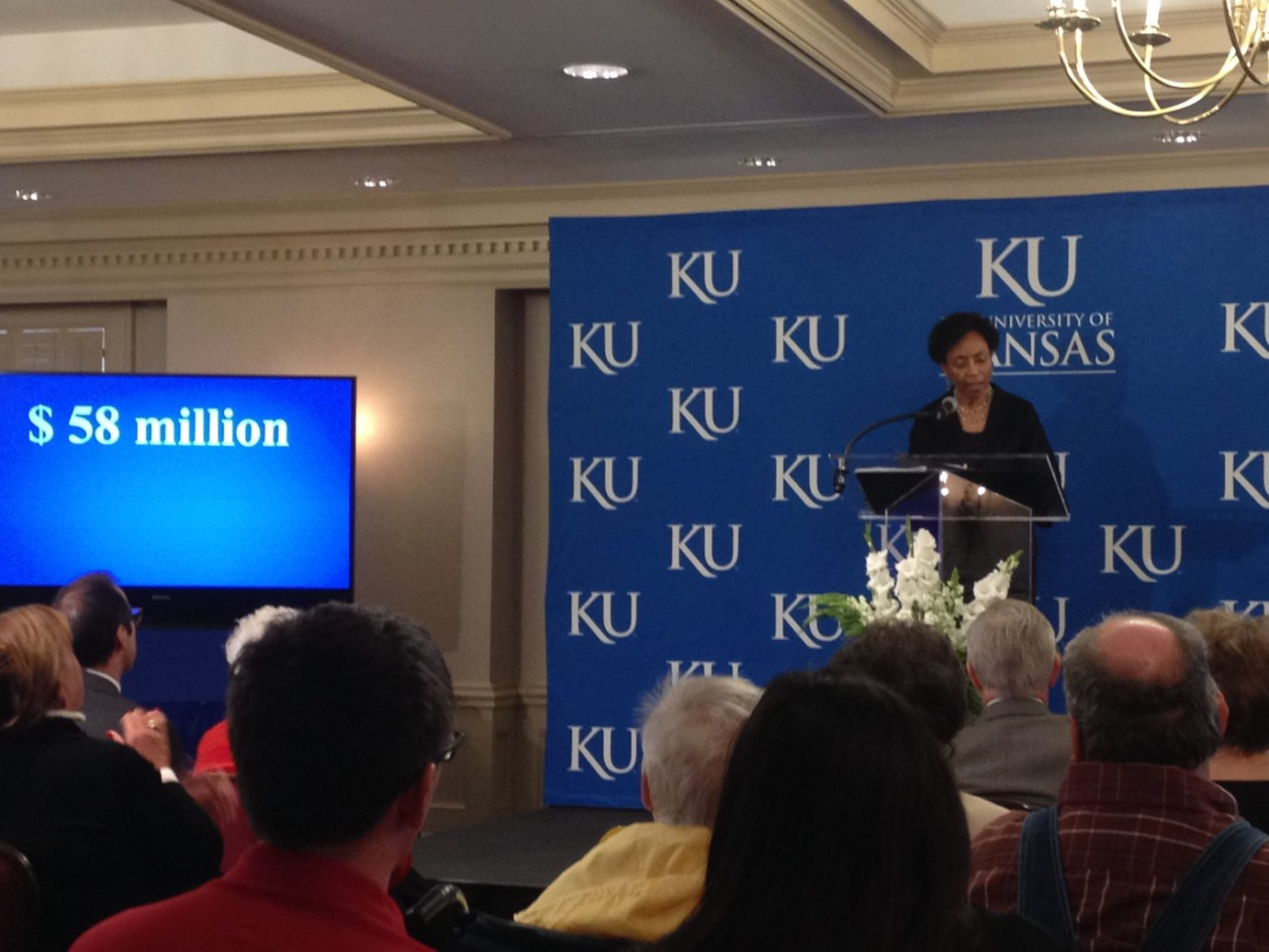 KU Chancellor Bernadette Gray-Little announcing the $58 million gift from the Self family estate during a news conference at the Adams Alumni Center. (Photo by J. Schafer)