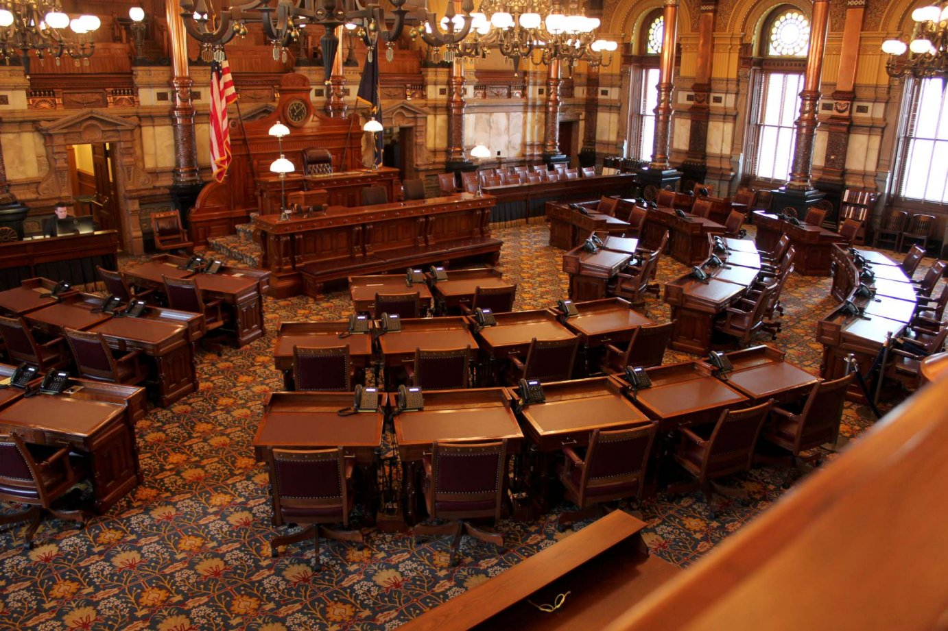 The empty Kansas Senate chamber. (Photo by Stephen Koranda)