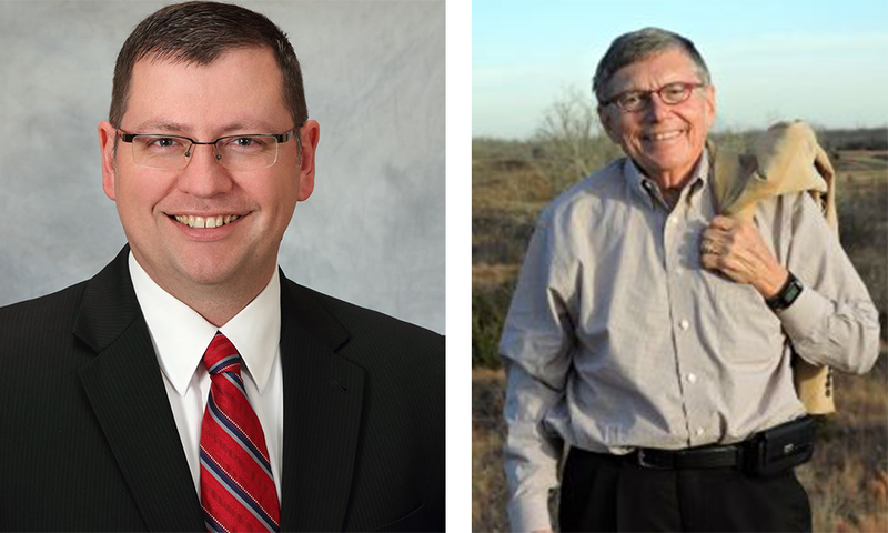 Kansas Senate Majority Leader Terry Bruce (left) lost his reelection bid to former community college president Ed Berger. (Photo by KMUW)
