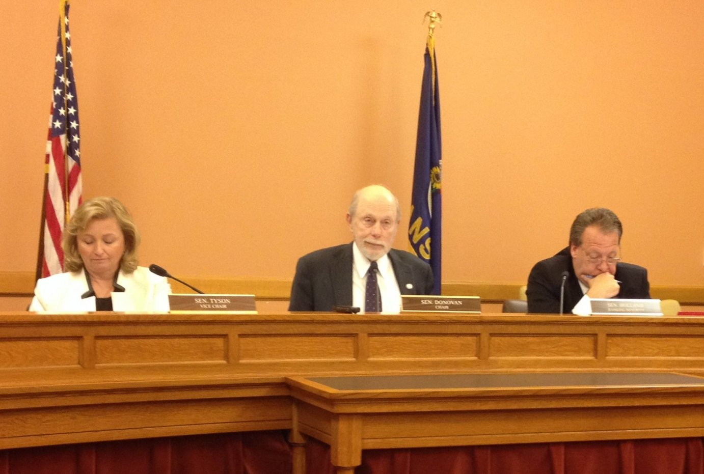 Senate Assessment and Taxation Chairman Les Donovan (center), Vice Chairman Caryn Tyson (left), and Ranking Minority Member Tom Holland (right) (photo by Bryan Thompson)