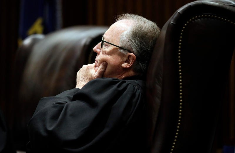 Senior Judge Michael Malone, sitting in for Justice Caleb Stegall, listens to oral arguments in the Gannon v. Kansas school funding case.  (Orlin Wagner / Associated Press)