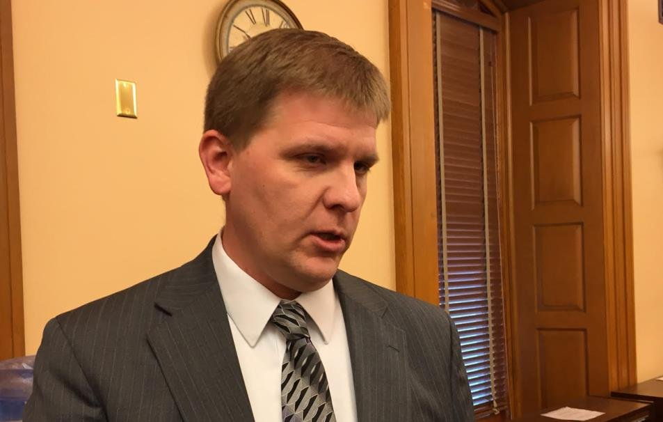 Budget Director Shawn Sullivan speaking to reporters. (Photo by Stephen Koranda)