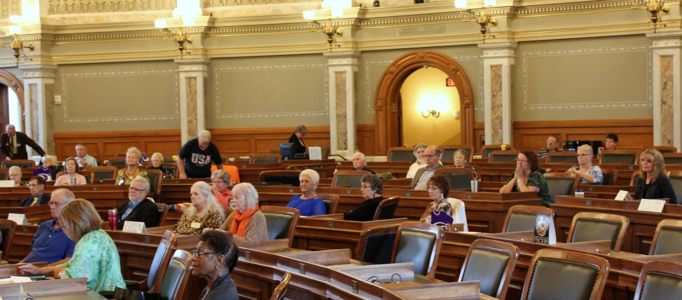 Members of the Silver Haired Legislature meeting in Topeka. (Photo by Stephen Koranda)
