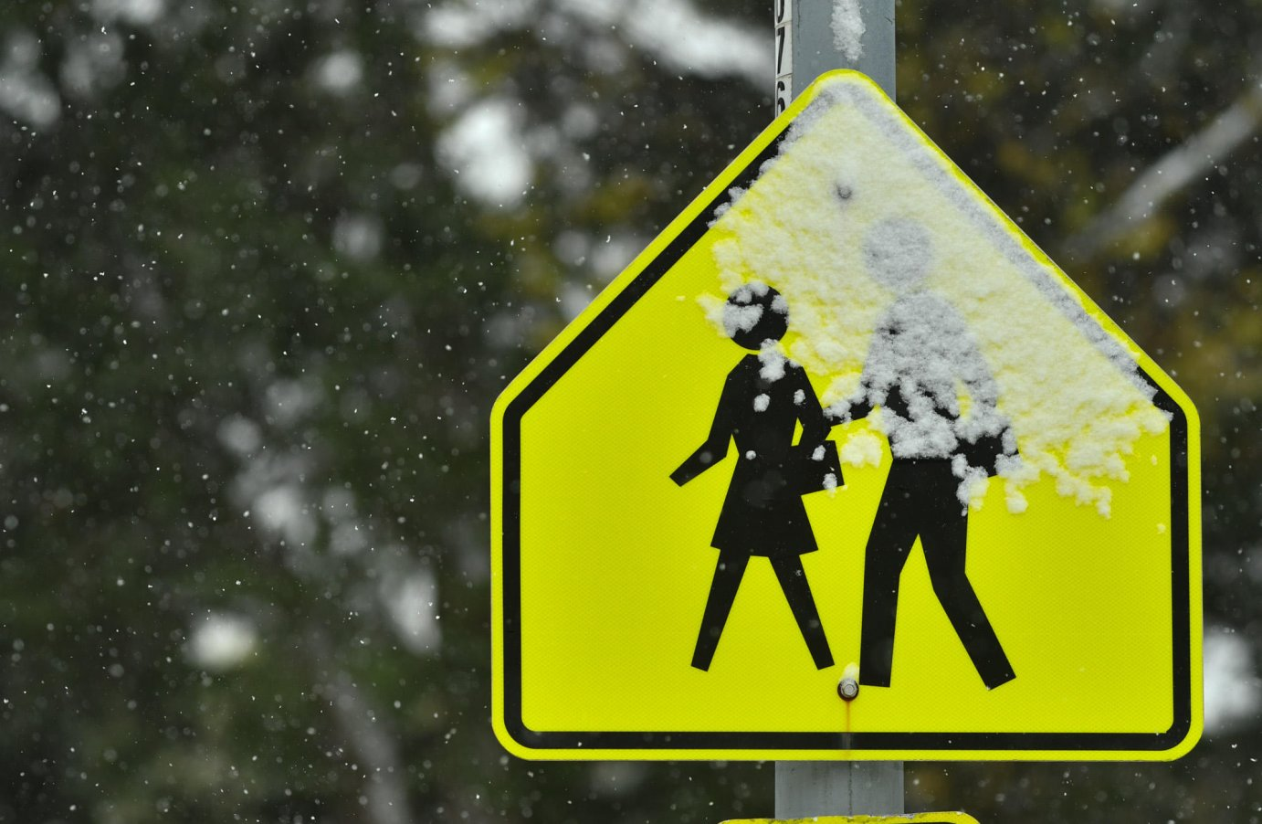 Snow falls on a school crossing sign in Kansas City on October 26, 2020. (Photo by Carlos Moreno)
