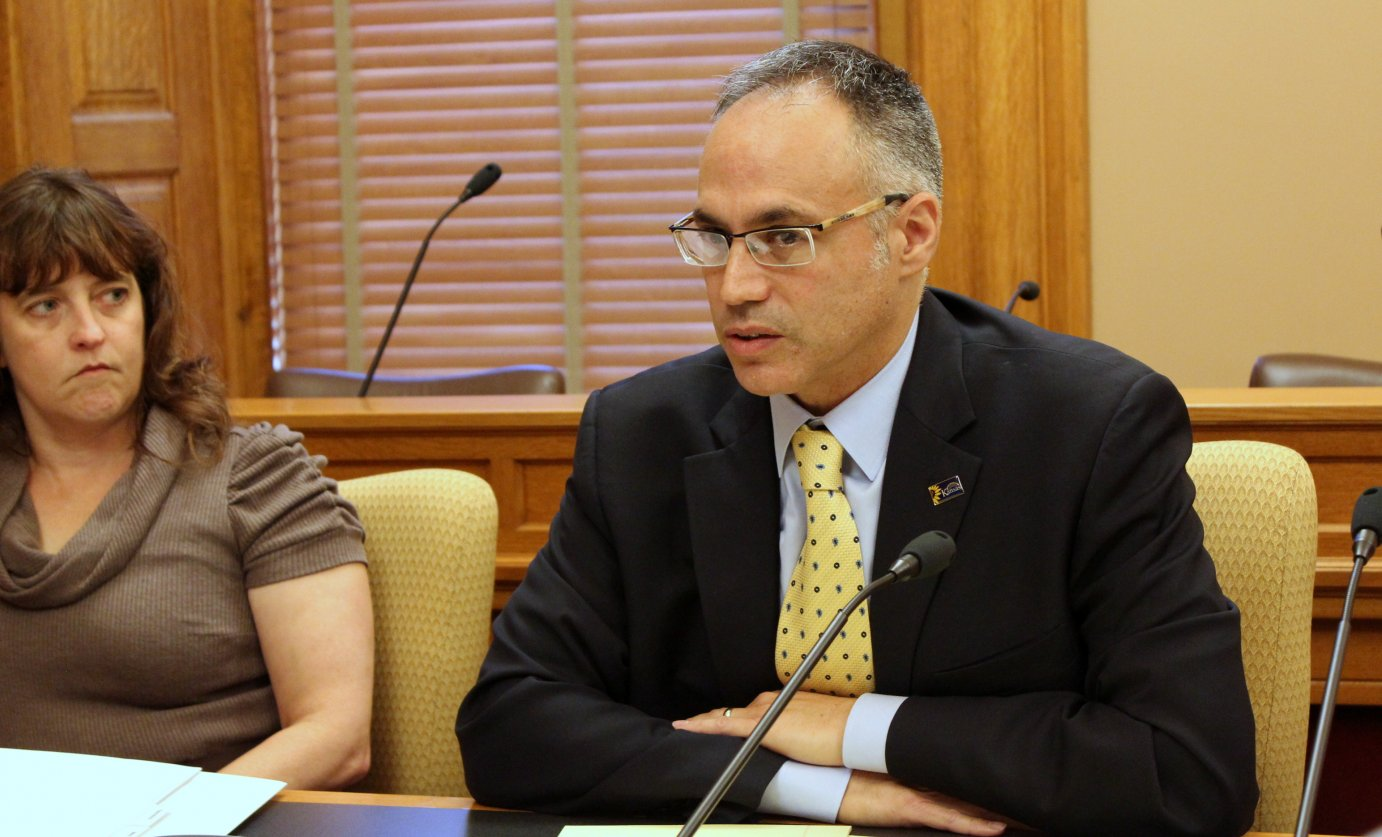 Commerce Secretary Antonio Soave answers questions about the KBA sale during a meeting at the Statehousee. (Photo by Stephen Koranda)