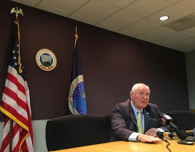 U.S. Agriculture Secretary Sonny Perdue meets the media at a USDA office in Kansas City on Thursday. (Photo: Peggy Lowe, Harvest Public Media)