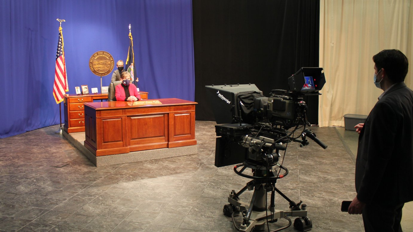 Governor Laura Kelly ordinarily would give her State of the State speech in the Capitol building directly to legislators. This year she taped it in a Topeka television studio. (Photo by Stephen Koranda)