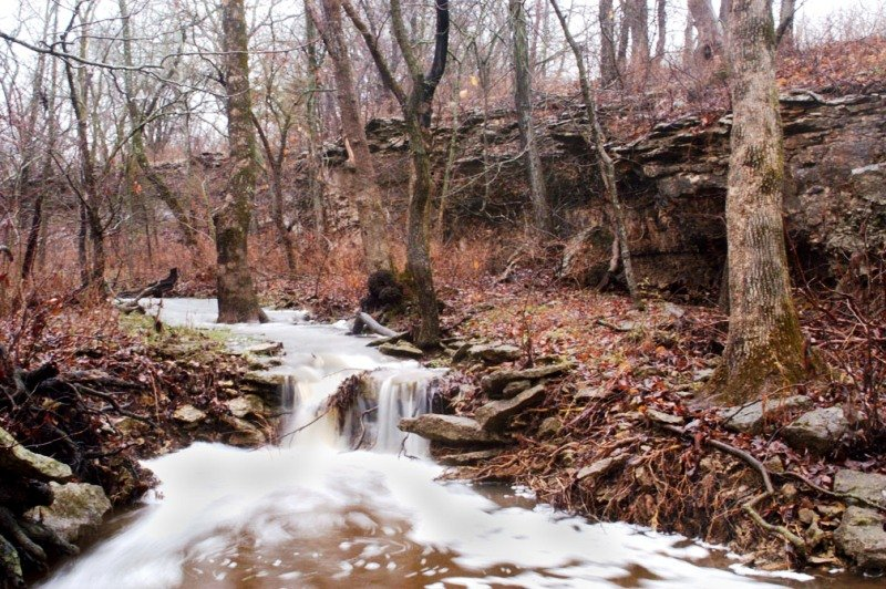 Waterfall at Cross Timbers State Park