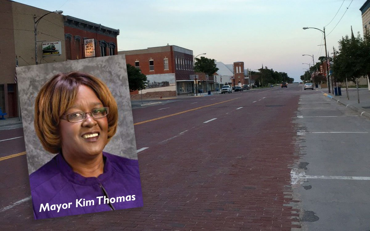 Stockton Mayor Kim Thomas has been on the job for nearly 15 years. She's the first African-American woman mayor in Kansas. (Street Photo courtesy of Stockton native Bill Maddy)