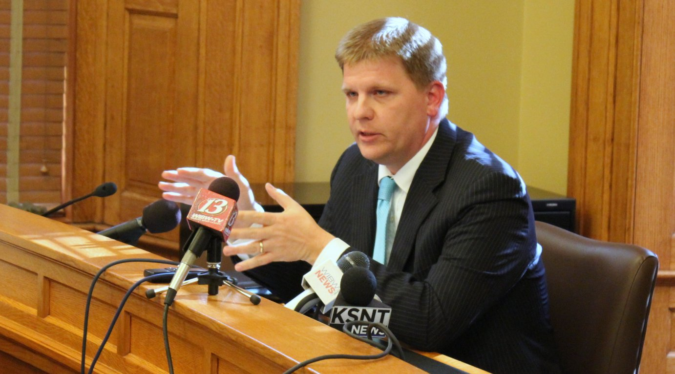 Budget Director Shawn Sullivan explaining the budget plans to reporters. (Photo by Stephen Koranda)