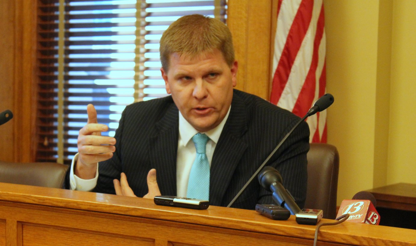 Budget Director Shawn Sullivan describes the budget situation at a media briefing. (Photo by Stephen Koranda)