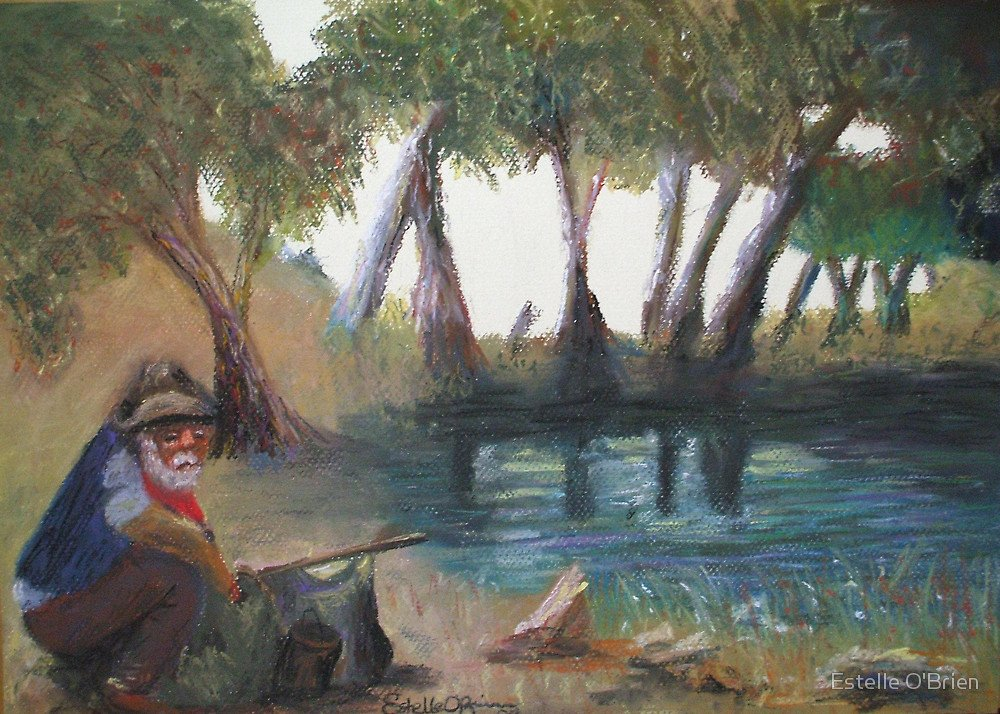 A jolly swagman, camped beside a billabong, as depicted in this painting by Australian artist Estelle O'Brien. The swagman is the main character in the tune Waltzing Matilda, the unofficial Australian national anthem.