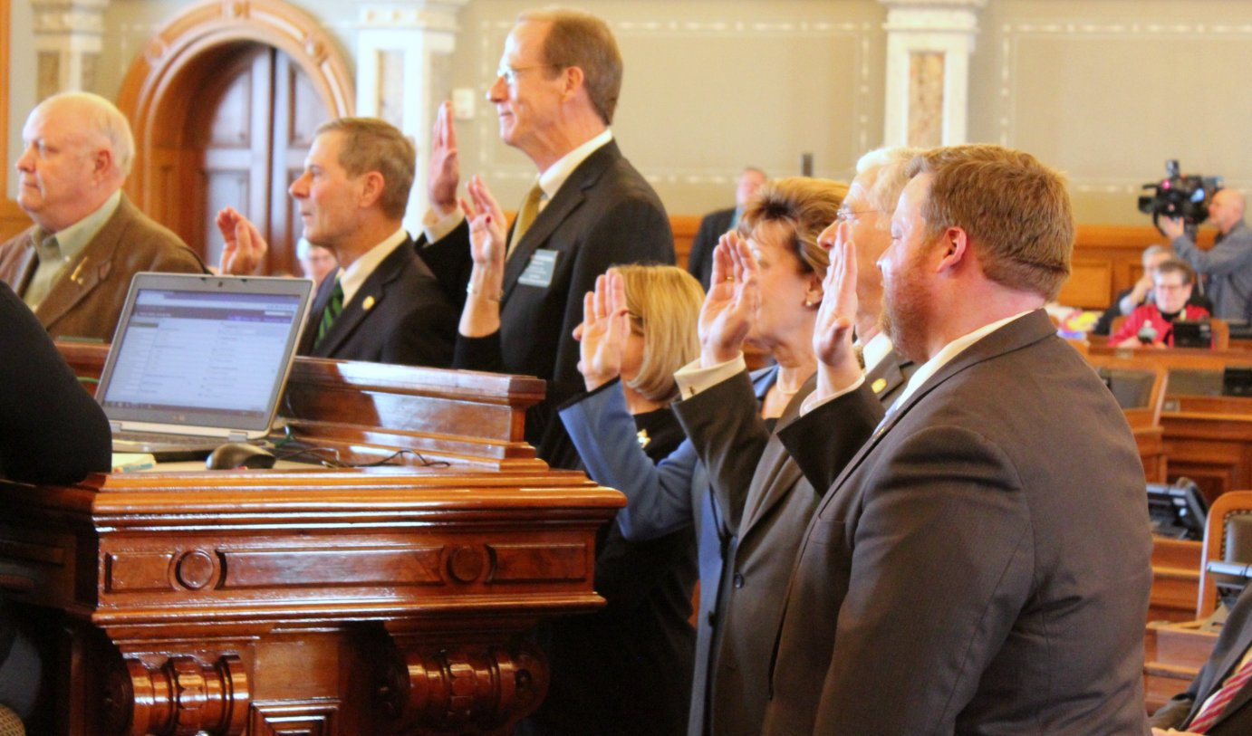 A swearing-in ceremony for Kansas House members Monday. (Photo by Stephen Koranda)