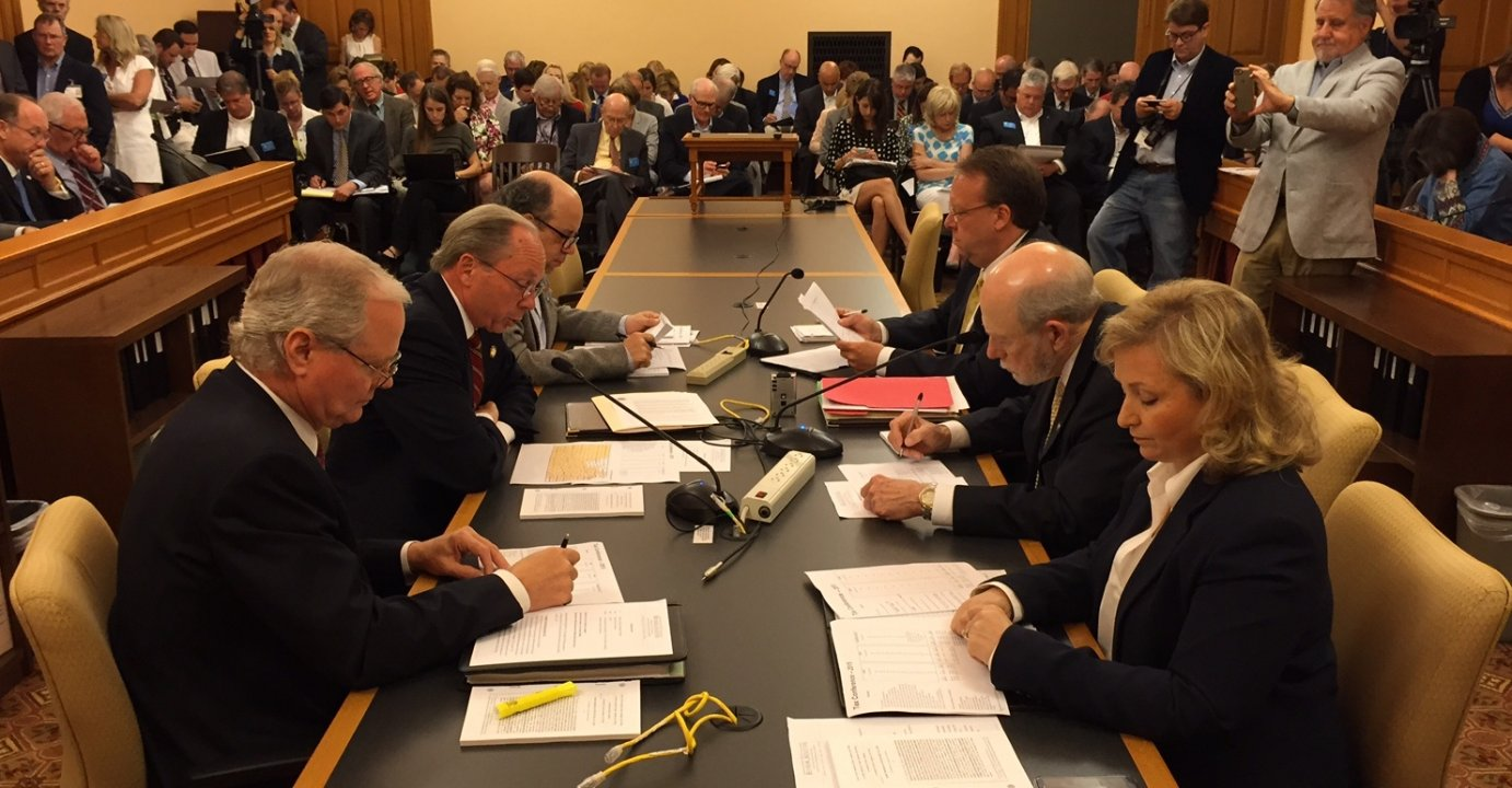 Tax negotiators meeting at the Statehouse. (Photo by Stephen Koranda)