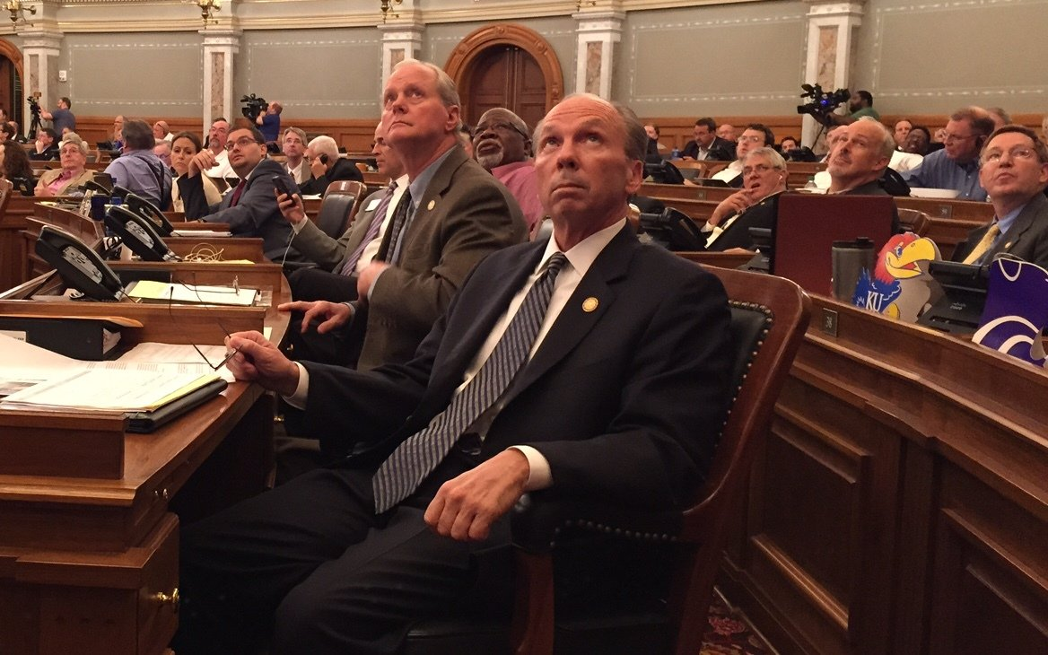Republican Rep. Marvin Kleeb watches as votes are counted during the debate. (Photo by Stephen Koranda)