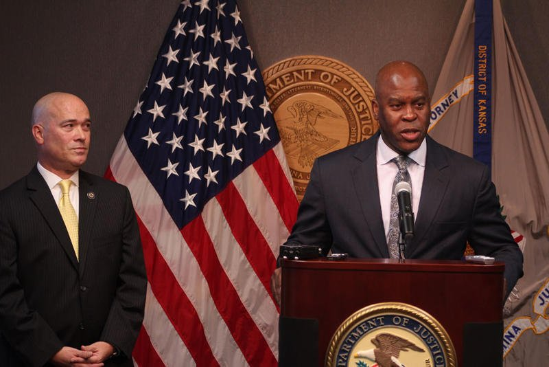 Acting US Attorney Tom Beall (l) and FBI Special Agent in Charge Eric Jackson (r) at the press conference about the arrest. (Photy by Nadya Faulx at KMUW)