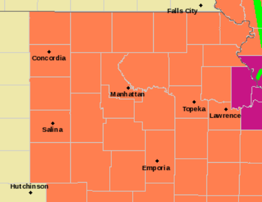 Heat advisories and excessive heat warnings are in effect for most of the KPR listening area (Image credit: National Weather Service, Topeka)