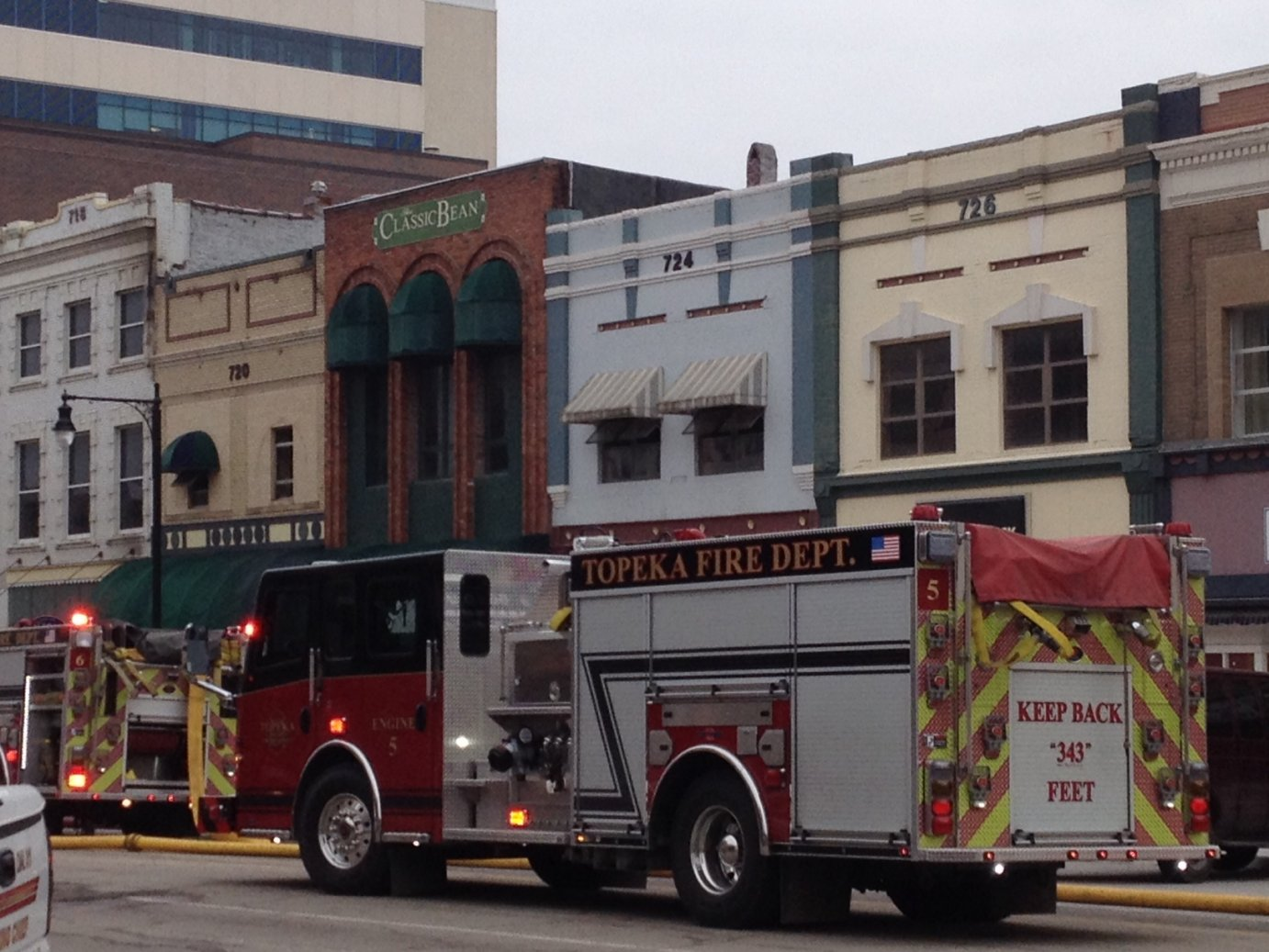 An early morning fire in downtown Topeka affected several businesses. (Photo by J. Schafer)