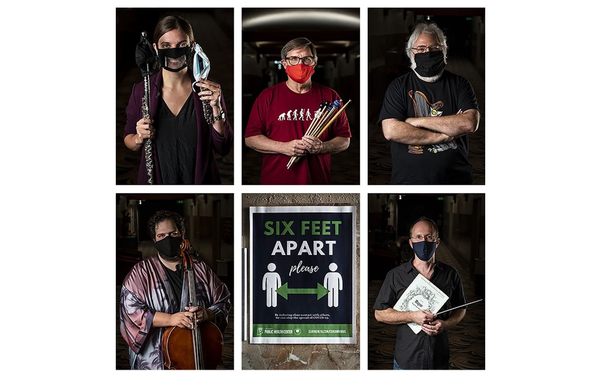 Members of the Topeka Symphony orchestra are back and they're wearing face masks. Flutist Hannah Porter Occeña, (clockwise from left) percussionist Bob Keckeisen, oboist James Mosher, cellist Eman Chalshotori, a sign at the Topeka Performing Arts Center and Conductor Kyle Wiley Pickett. (Julie Denesha, KCUR)