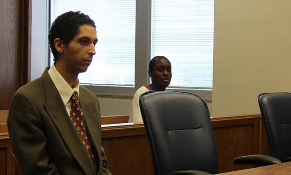 Tyler Barriss sits in court during his preliminary hearing.  (Photo by Stephan Bisaha / KMUW)