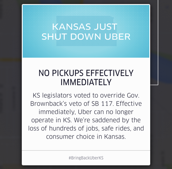 A message that greeted Kansas Uber users when Uber pulled out of the state