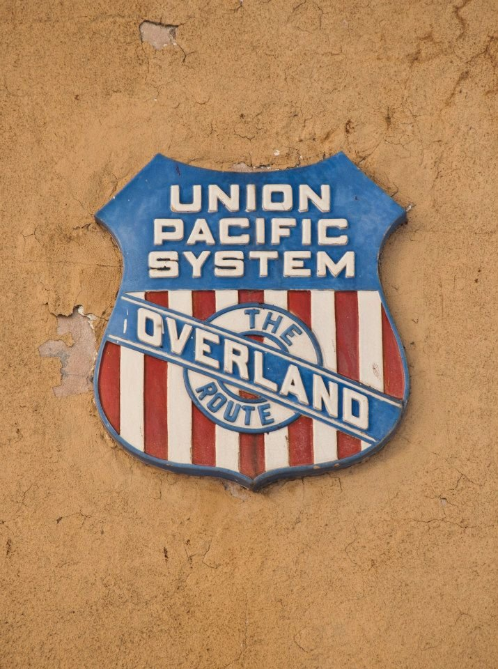 A Union Pacific Railroad sign.  (This one hangs on the old depot in Marysville, Kansas, which is undergoing restoration.)