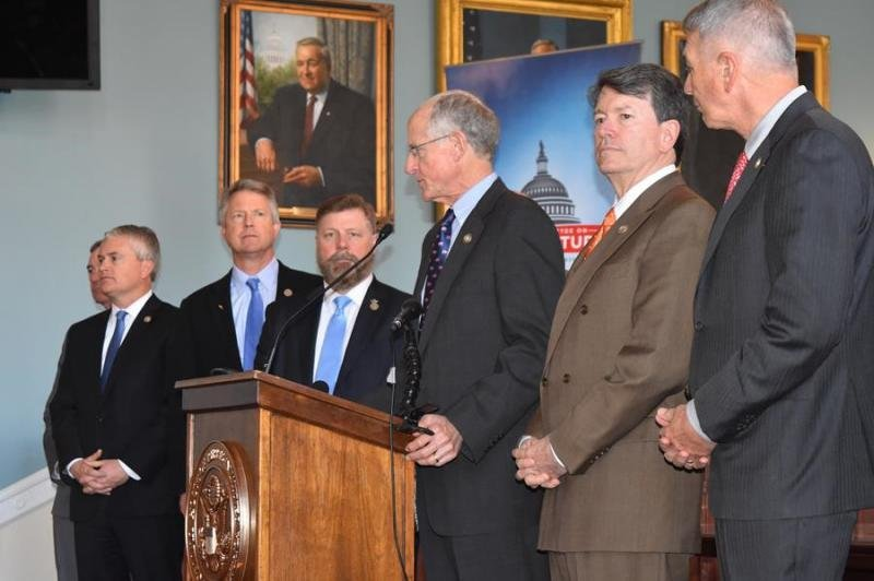 Earlier this year, members of the House Agriculture Committee unveiled their version of the farm bill, which was voted down May 18.  (Photo from U.S. Rep. Roger Marshall's Office)