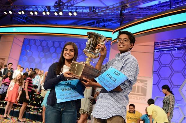 Vanya Shivashankar of Olathe and Gokul Venkatachalam of Chesterfield, Missouri, are the co-champions of the 2015 Scripps National Spelling Bee (Image credit: Mark Bowen/Scripps National Spelling Bee)
