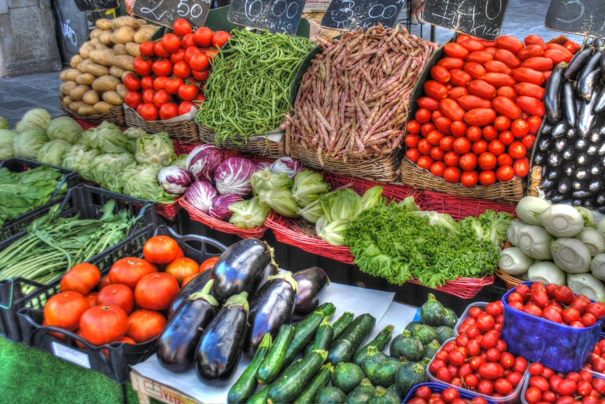 Vegetable variety on display at a market