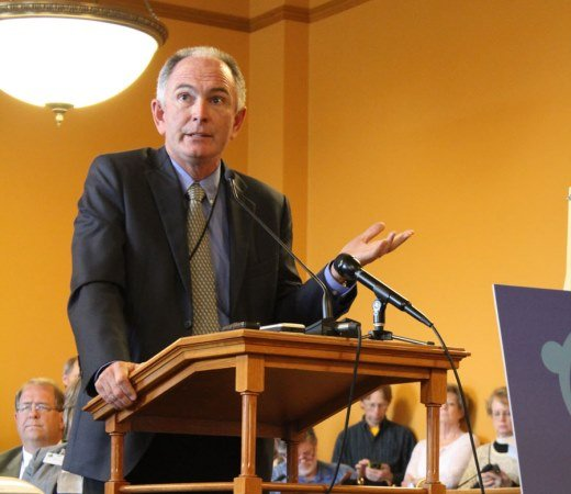Dr. Eric Voth, vice-president of primary care at Stormont-Vail HealthCare in Topeka,speaking at today's Alliance for a Healthy Kansas kick-off (Photo credit:Jim McLean, KHI News Service)