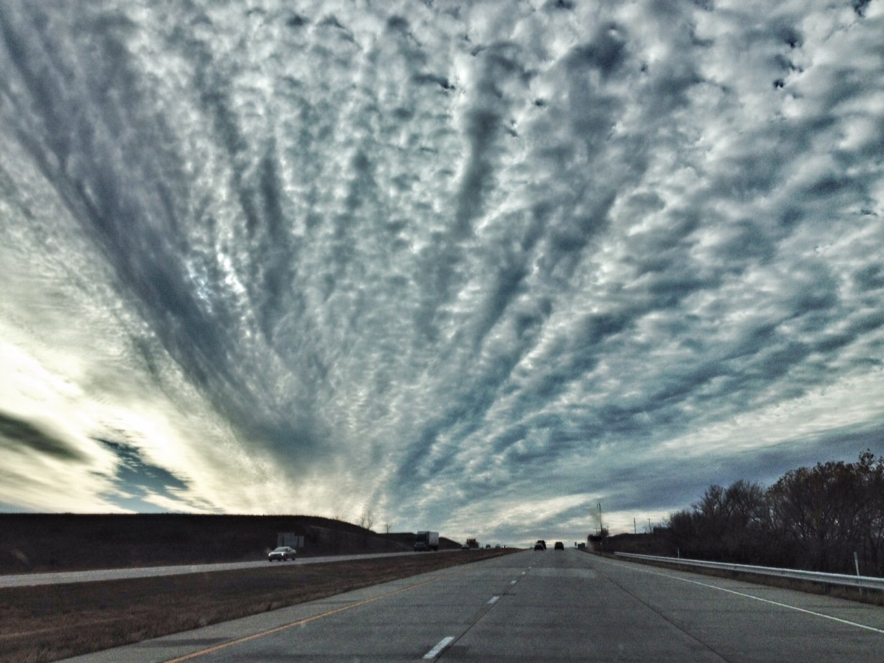 Strange-looking clouds out west, along Interstate 70 (Photo by J. Schafer)