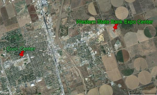 The Ford County clerk moved Dodge City's lone polling place from the more central civic center to the Western State Bank Expo Center on the edge of town. (photo credit: Google Earth)