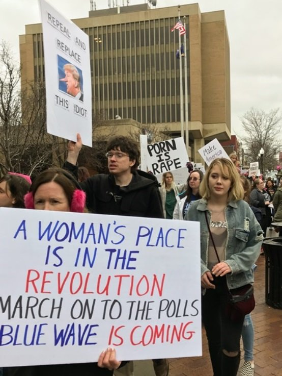 An estimated 2,500 people attended a rally and march in Lawrence on Saturday. (Photo Credit: Jolene Grabill)