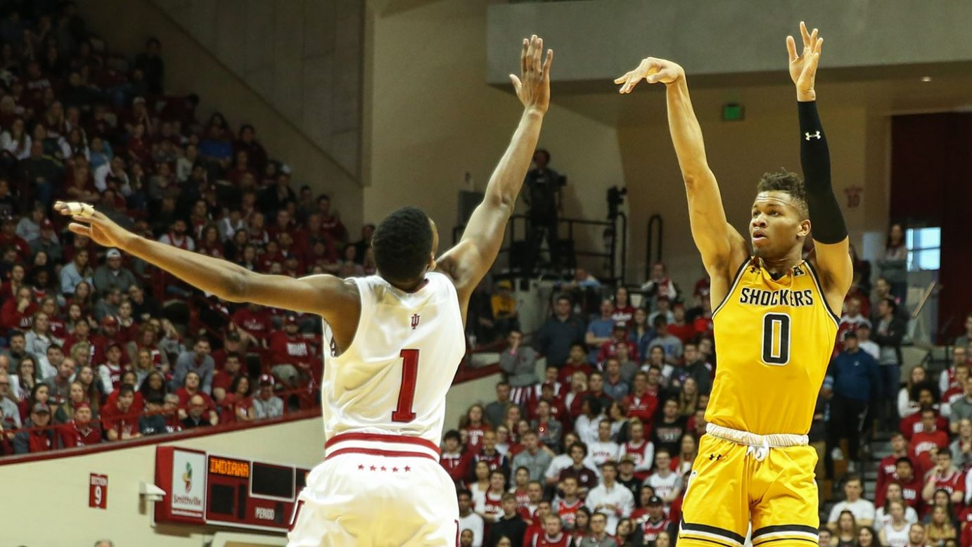 The Shockers' Dexter Dennis scored 17 points and blocked a career-high six shots in Tuesday's win versus Indiana.(photo: goshockers.com)