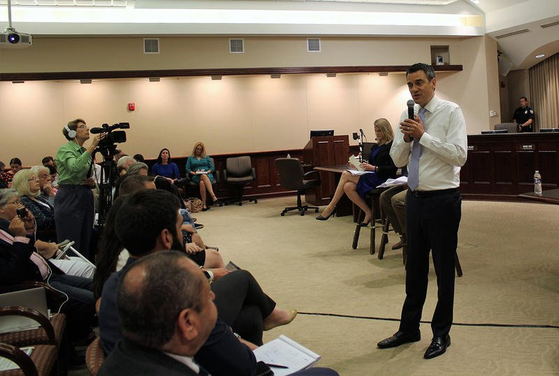 Kansas Republican Congressman Kevin Yoder, who represents the state's 3rd District, participated in his first in-person town hall meeting since last year's election. The meeting Tuesday at Olathe City Hall was hosted by the Kansas City Star.  (Photo by Jim McLean, Kansas News Service)