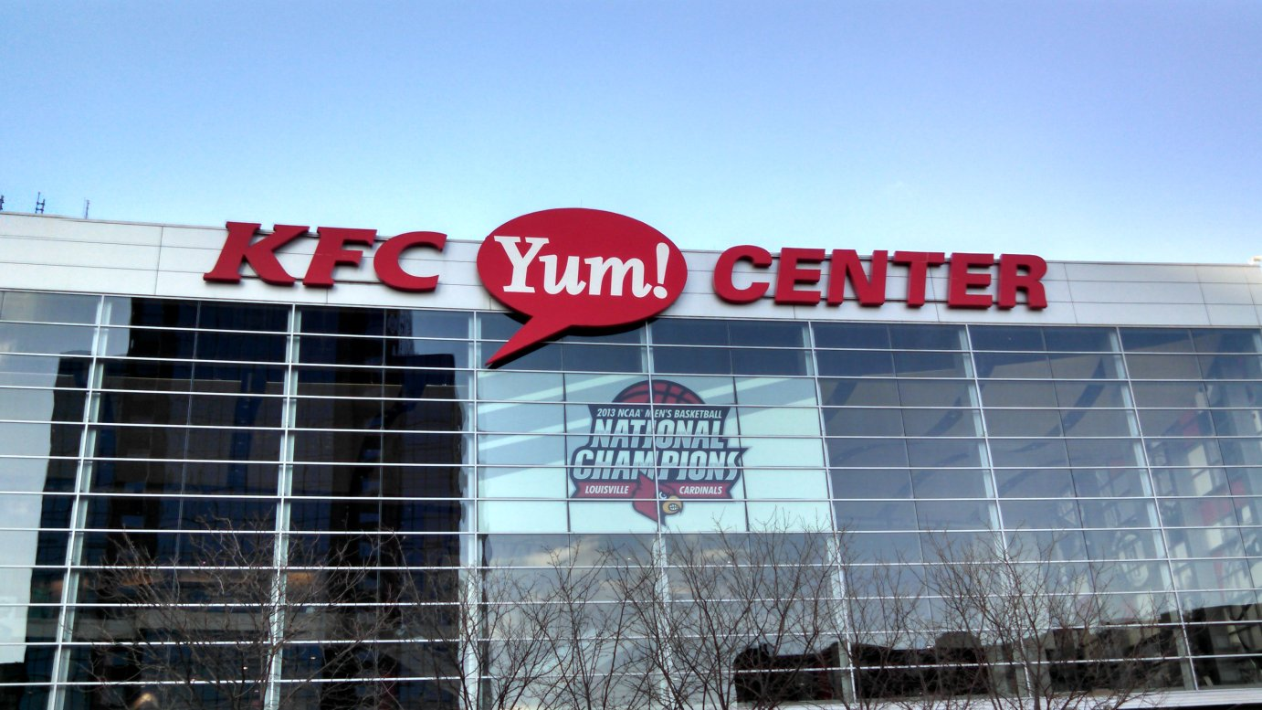 The KFC Yum Center in Louisville, Kentucky, is the site for Thursday's game between KU and Maryland in the NCAA men's basketball tournament. (Photo by Greg Echlin)
