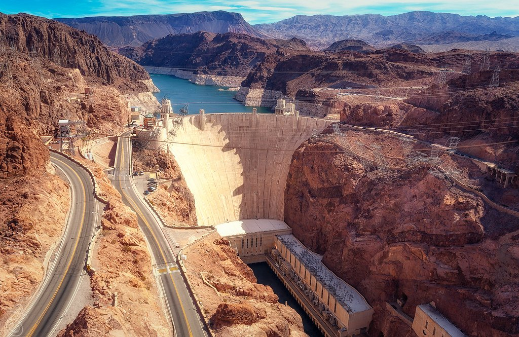 Hoover Dam, along the Colorado River in Arizona and Nevada, built in part by Bechtel Corporation in 1931.