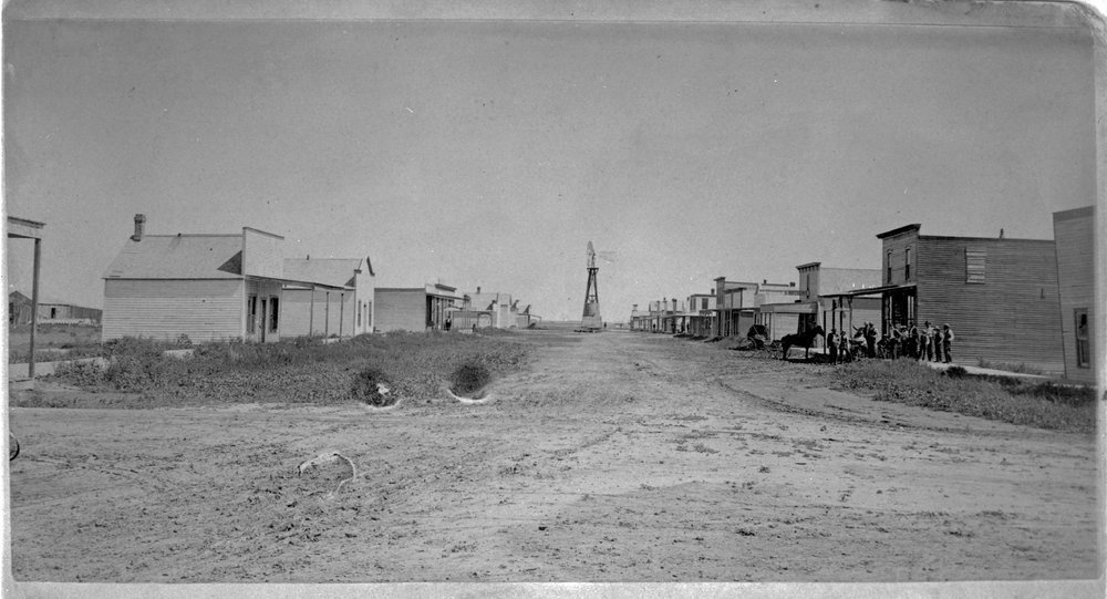 The main business street looking north in Hugoton, Kan., 1891. (Photo Courtesy of Kansas Historical Society / kansasmemory.org)