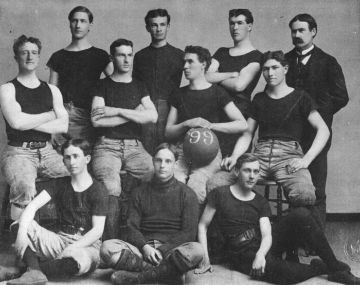 The 1899 University of Kansas basketball team, with coach (and inventor of the game) James A. Naismith standing at right on back row.