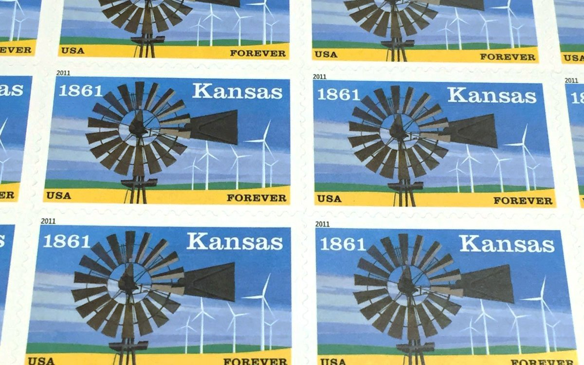Kansas Forever stamps (Photo by J. Schafer)