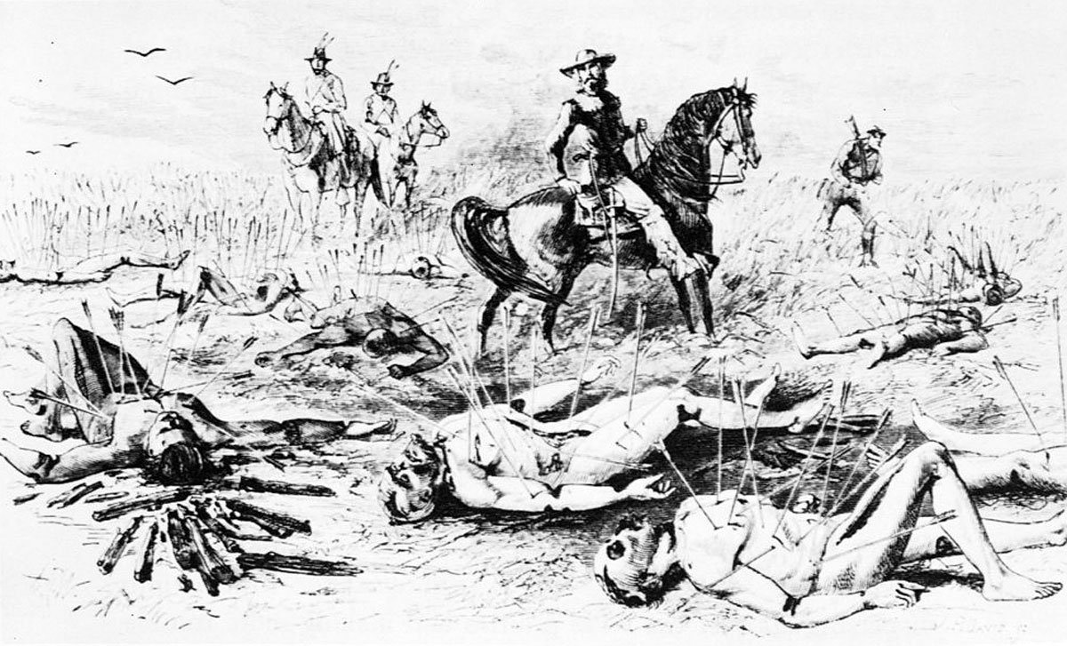 """Depiction of the scene, witnessed by George Armstrong Custer, following the """"Kidder Massacre"""" in Sherman County, Kansas, in the summer of 1867. (Image credit: Harper's Weekly)"""