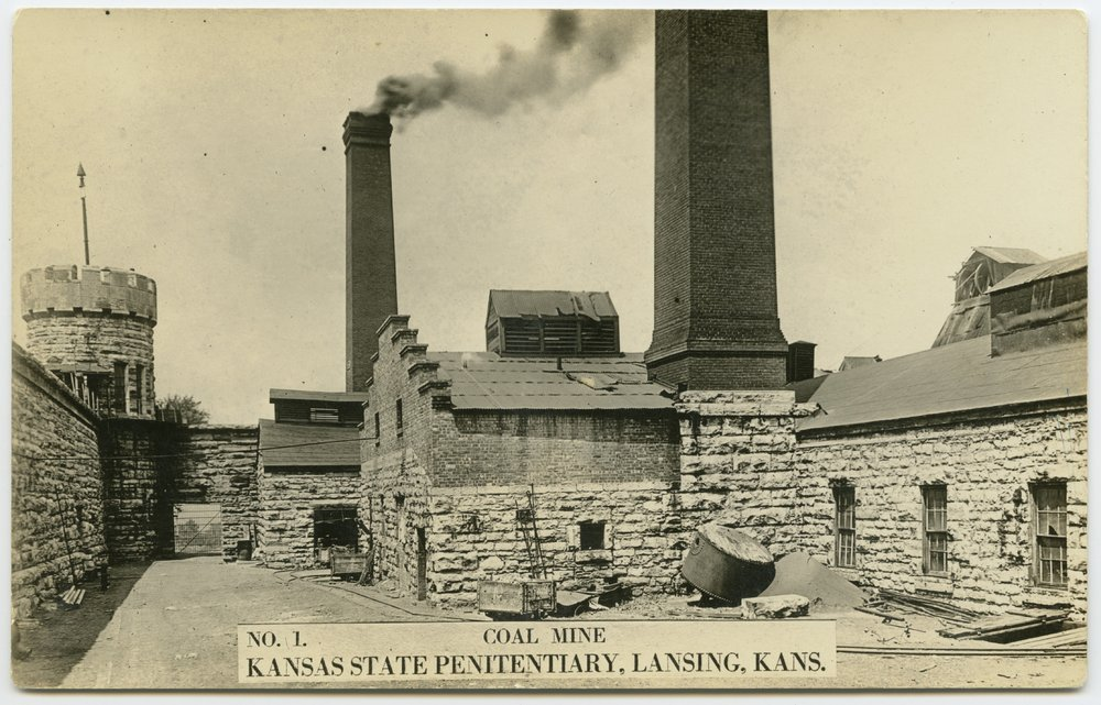 This is a postcard showing coal mine no. 1 at the Kansas State Penitentiary in Lansing, Kansas, 1920s. (Photo Courtesy of Kansas Historical Society / kansasmemory.org)