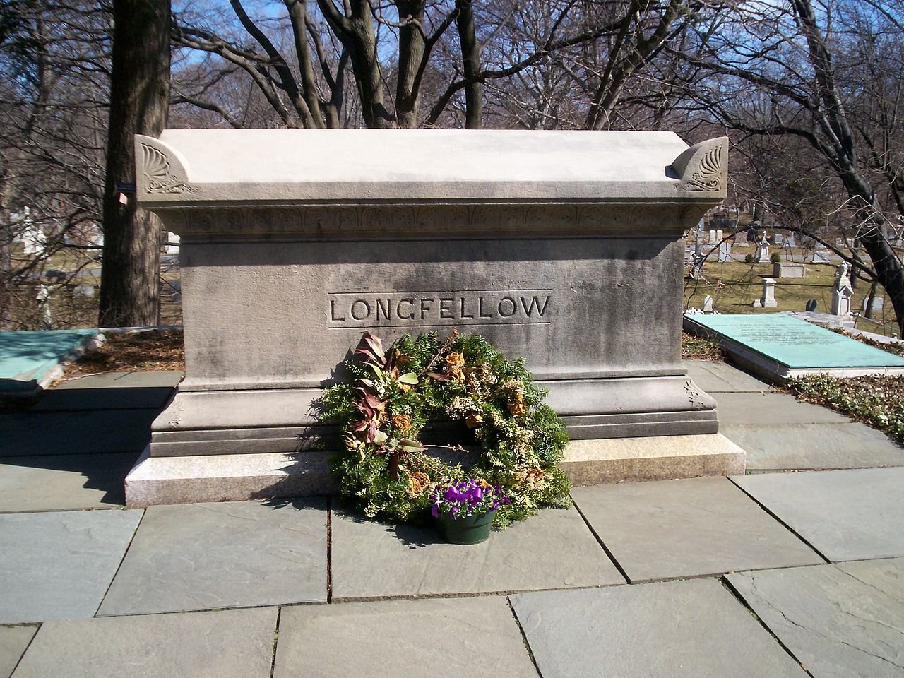 Grave of Henry Wadsworth Longfellow, Mount Auburn Cemetery, west of Boston, Massachusetts.  (Photo from Wikipedia.)