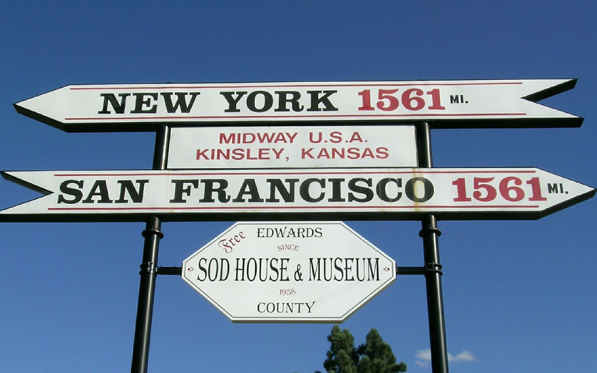"""The town of Kinsley, in Edwards County, is often referred to as """"Midway USA"""" because it is supposedly the halfway or midway point between New York City and San Francisco. The city of Kinsley even erected a sign reflecting this factoid. (Flickr Photo by Franklin B. Thompson)"""