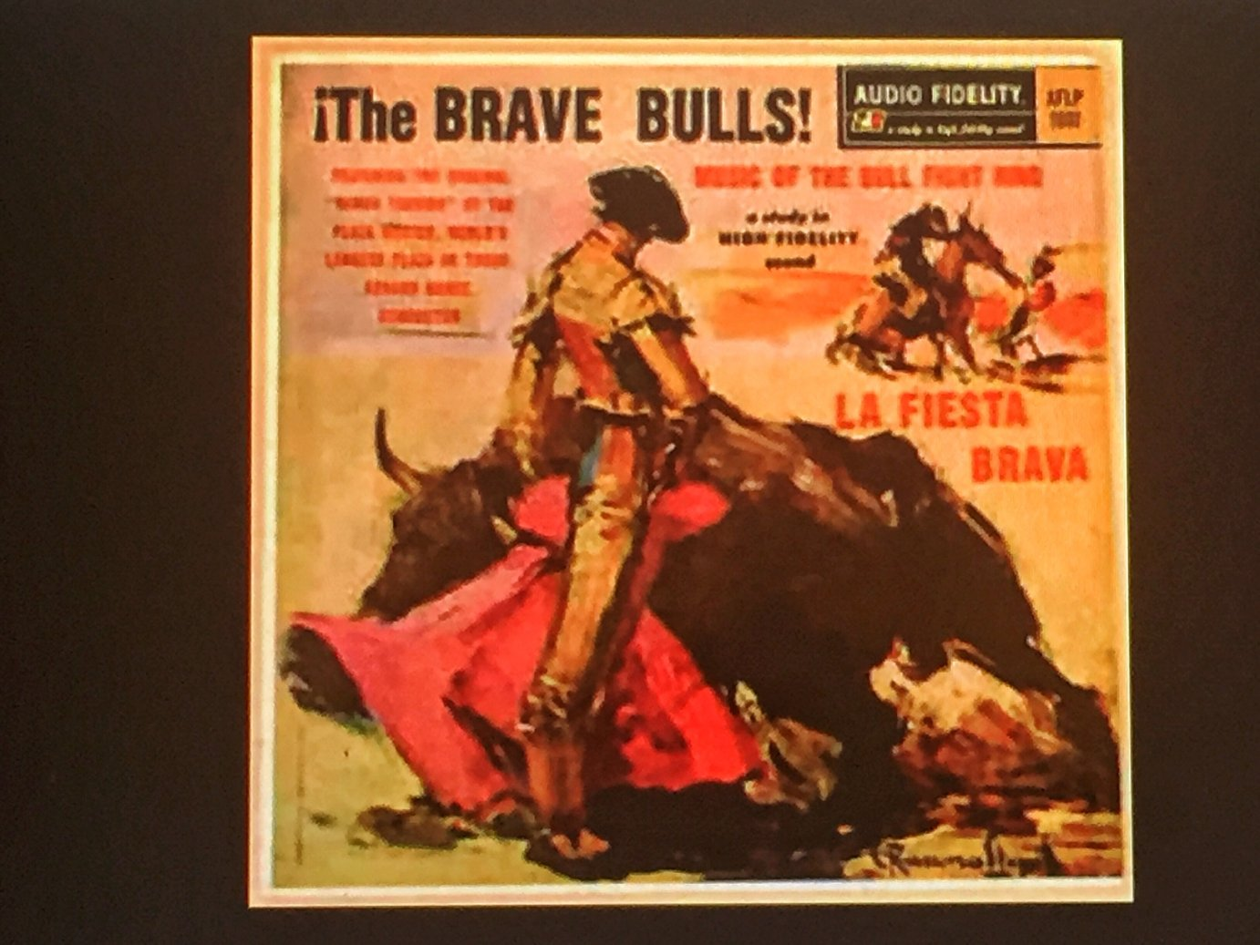 An album cover from 1955 with Latin music honoring matadors and bullfighting. (Photo by J. Schafer)